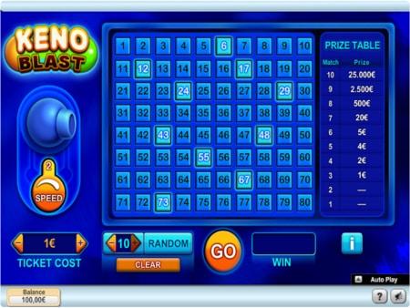 online keno spelen voorbeeld scherm