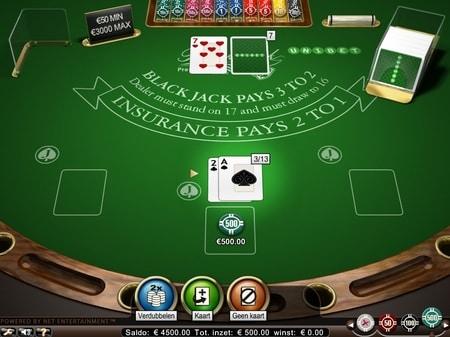 blackjack surrender, insurance en even money opties op de blackjack tafel