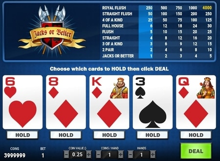 jacks or better video poker screenshot