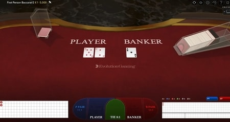 First Person Baccarat screenshot Evolution Gaming