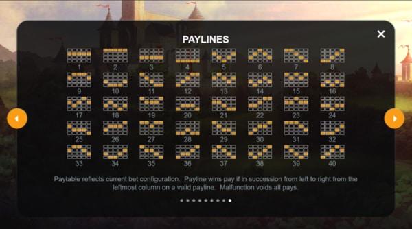 voorbeeld slotgame met 40 winlijnen